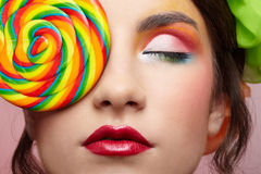 Beautiful model with lollipop Royalty Free Stock Photos