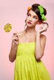 Beautiful model with lollipop Stock Photos