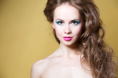 Beautiful model with long curly hair Royalty Free Stock Photography