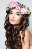 Beautiful Model with Long Curly Hair, Fashion Makeup Stock Photos
