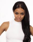 Beautiful model with long dark hair Stock Photos