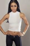 Beautiful model with long dark hair Royalty Free Stock Image