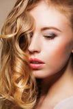 Beautiful model with long hair closeup Stock Photography