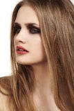 Beautiful model with long hair & grunge dark lips make-up Stock Photography