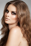 Beautiful model with long volume hair and make-up Royalty Free Stock Images