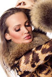 Beautiful model in luxurious clothing royalty free stock photo