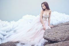 Beautiful model in luxurious strapless corset ball gown sitting on slabs of broken ice at the misty seaside. Young beautiful model in luxurious strapless corset Stock Photos
