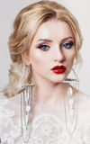 Beautiful model with luxury cosmetics, and royalty free stock images