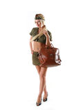 Beautiful model in military clothes Royalty Free Stock Photo
