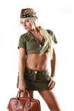 Beautiful model in military clothes with bag Royalty Free Stock Images