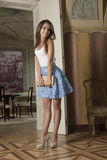 Beautiful model in old  luxury room Stock Photography