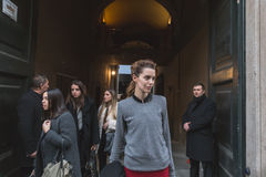 Beautiful model outside Trussardi fashion show building for Mila Stock Photography