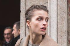 Beautiful model outside Trussardi fashion show building for Mila Stock Photo