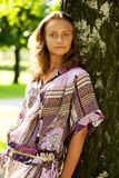 Beautiful model in the park Stock Photography