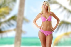 Beautiful model in pink bikini Stock Photos