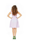 Beautiful model in pink dress. Back view model in pink dress isolated on white Royalty Free Stock Photos