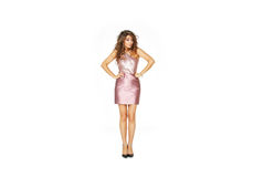 Beautiful model in pink dress. Isolated on white - front view Stock Photography