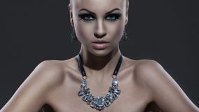 Beautiful model with ponytale and makeup Royalty Free Stock Image