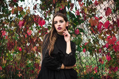 Beautiful model posing in autumn park Royalty Free Stock Images