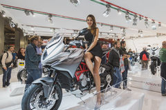 Beautiful model posing at EICMA 2014 in Milan, Italy Royalty Free Stock Photography