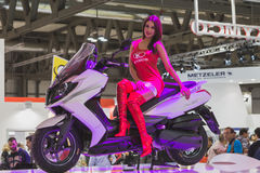 Beautiful model posing at EICMA 2014 in Milan, Italy Stock Images