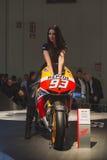Beautiful model posing at EICMA 2014 in Milan, Italy Royalty Free Stock Photo