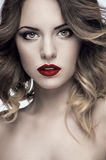 Beautiful model with red lips Stock Photos