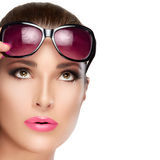 Beautiful Model in Red Violet Shades Looking up. Bright Makeup a Royalty Free Stock Photos
