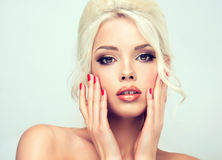Beautiful model with retro hair style. Stock Photo