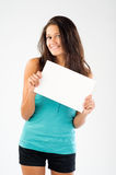 Beautiful model with signboard Royalty Free Stock Image