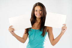 Beautiful model with signboard Stock Photography