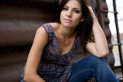 Beautiful Model sitting Stock Photos