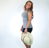 Beautiful Model With A Straw Hat Stock Photography