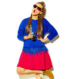 Beautiful model in summer stylish clothes in studio Royalty Free Stock Photography