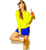 Beautiful model in summer stylish clothes in studio Stock Photo