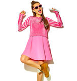 Beautiful model in summer stylish clothes in studio Stock Images