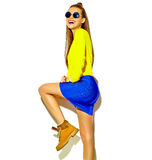 Beautiful model in summer stylish clothes in studio Stock Photos