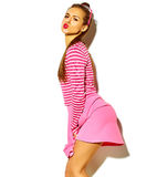 Beautiful model in summer stylish clothes in studio Stock Image
