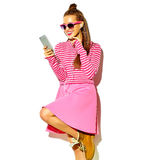 Beautiful model in summer stylish clothes in studio Stock Photography