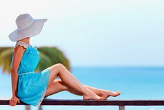 Beautiful model on summer vacation Stock Image