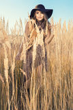 Beautiful model at a tallgrass meadow Stock Photography