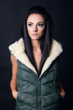 Beautiful model in vests Royalty Free Stock Images