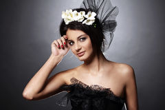 Beautiful model in vintage bridal image royalty free stock photos
