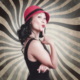 Beautiful model in vintage fashion accessories Stock Photography