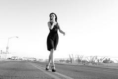 Beautiful Model walking dress Stock Image