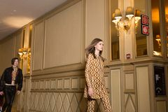 Beautiful model walking the runway stock images