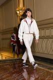 Beautiful model walking the runway stock photo