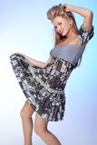 Beautiful model waving dress Royalty Free Stock Photos