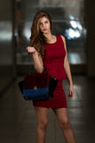 Beautiful Model Wearing A Red Dress And Leather Bag Stock Photography