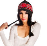Beautiful model wearing winter wooly hat Royalty Free Stock Images